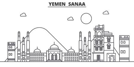 Ilustración de Yemen, Sanaa architecture line skyline illustration. - Imagen libre de derechos