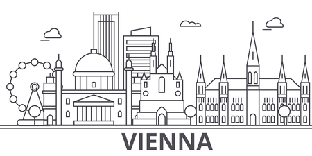 Illustration pour Vienna architecture line skyline illustration. - image libre de droit