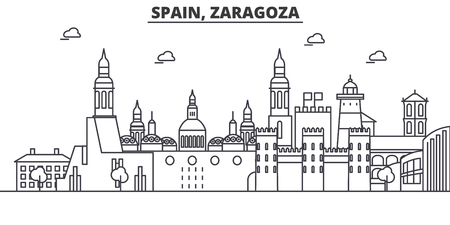 Illustration pour Spain, Zaragoza architecture line skyline illustration. - image libre de droit