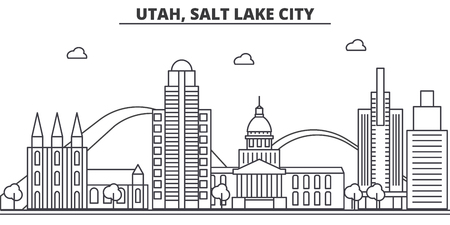 Illustration pour Utah, Salt Lake City architecture line skyline illustration. - image libre de droit