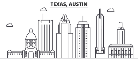 Illustration pour Texas Austin architecture line skyline illustration. - image libre de droit