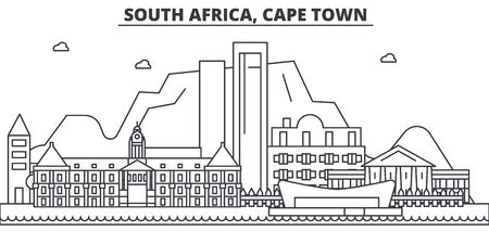 Ilustración de South Africa, Cape Town architecture line skyline illustration. - Imagen libre de derechos