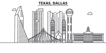 Illustration for Texas Dallas architecture line skyline illustration. - Royalty Free Image