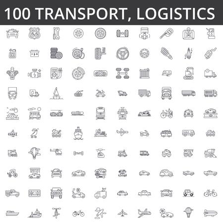 Illustration pour Transportation, car, logistics, vehicle, public transport, bus, tram, ship, shipping auto service truck line icons signs. - image libre de droit