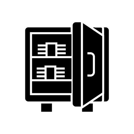 Ilustración de safe with banknotes icon, illustration, vector sign on isolated background - Imagen libre de derechos