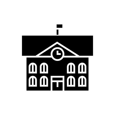 Ilustración de town hall - city hall icon, illustration, vector sign on isolated background - Imagen libre de derechos