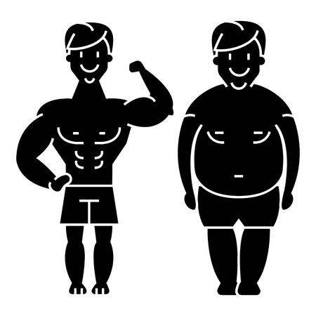 Ilustración de fitness - before and after - strong man - fat guy icon, illustration, vector sign on isolated background - Imagen libre de derechos