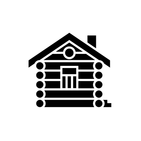 Illustration pour house - cabin - wood house icon, illustration, vector sign on isolated background - image libre de droit