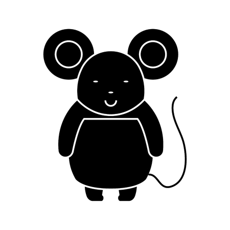 Ilustración de Cute mouse icon design illustration, on a white backdrop. - Imagen libre de derechos