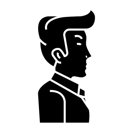 Ilustración de businessman manager side view icon, illustration, vector sign on isolated background - Imagen libre de derechos