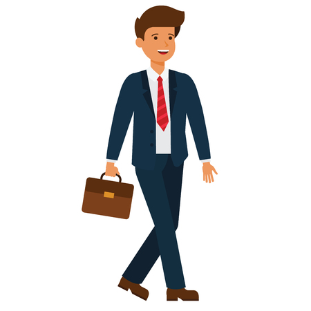 Illustration pour Businessman going to work cartoon flat illustration concept on isolated vector white background - image libre de droit