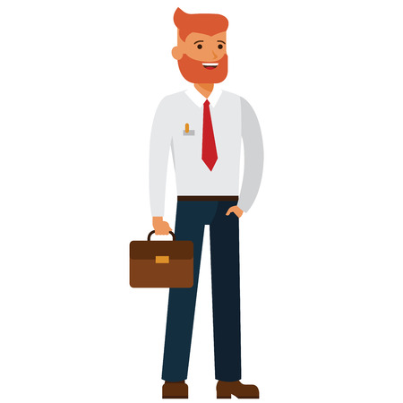 Illustration pour Bearded businessman with case cartoon flat illustration concept on isolated vector white background - image libre de droit