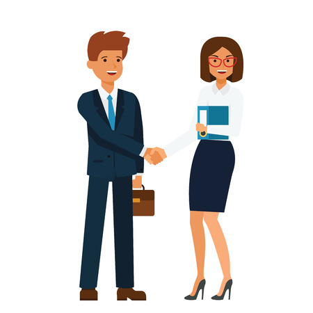 Ilustración de Businesswoman and businessman standing together and shaking hands cartoon flat illustration concept on isolated vector white background - Imagen libre de derechos