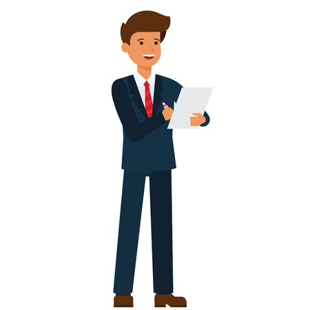 Illustration pour Standing businessman writing contract cartoon flat illustration concept on isolated vector white background - image libre de droit