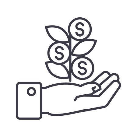Ilustración de Hand with money tree line icon, sign, symbol, vector on isolated background - Imagen libre de derechos