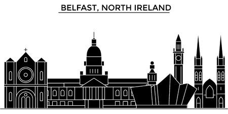 Foto für Belfast, North Ireland architecture vector city skyline, black cityscape with landmarks, isolated sights on background - Lizenzfreies Bild