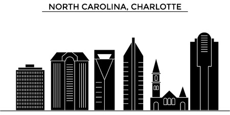 Illustration pour Usa, North Carolina, Charlotte architecture vector city skyline, black cityscape with landmarks, isolated sights on background - image libre de droit
