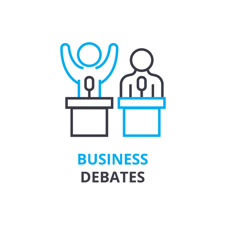 Ilustración de Business debates concept , outline icon, linear sign, thin line pictogram, logo, flat illustration, vector - Imagen libre de derechos