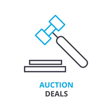 Ilustración de Auction deals concept outline icon illustration. - Imagen libre de derechos