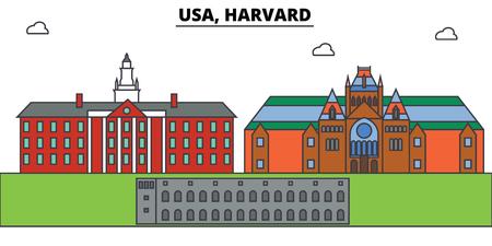 Illustration pour Usa, Harvard outline skyline, american flat thin line icons, landmarks, illustrations. Usa, Harvard cityscape, american vector travel city banner. Urban silhouette - image libre de droit