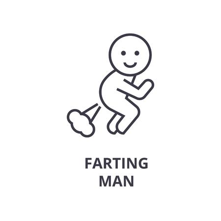 Illustrazione per A farting man line icon,  cartoon outline symbol flat vector illustration - Immagini Royalty Free