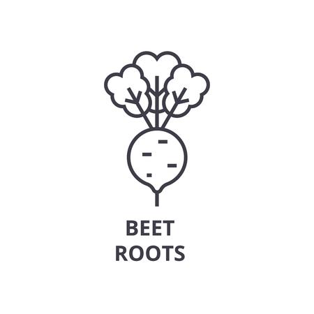 Ilustración de Beet, roots line icon, outline sign, linear symbol, flat vector illustration. - Imagen libre de derechos