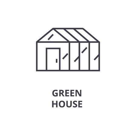 Ilustración de Green house line icon, outline sign, linear symbol, flat vector illustration. - Imagen libre de derechos