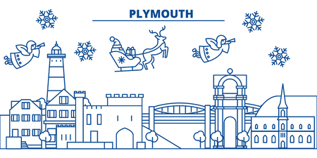 Illustration pour Great Britain, Plymouth winter city skyline with Santa Claus in flat style illustration. - image libre de droit