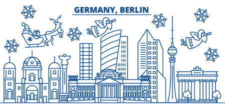 Illustration pour Germany, Berlin winter city skyline with Santa Claus in flat style illustration. - image libre de droit