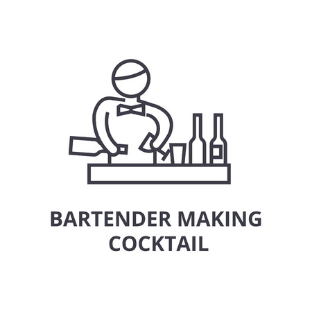 Illustration pour bartender making cocktail thin line icon, sign, symbol, illustation, linear concept vector - image libre de droit
