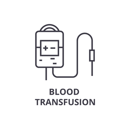 Illustration for blood transfusion system thin line icon, sign, symbol, illustation, linear concept vector - Royalty Free Image
