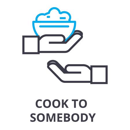 Illustration pour Cook somebody thin line icon, sign, symbol, illustration, linear concept vector. - image libre de droit