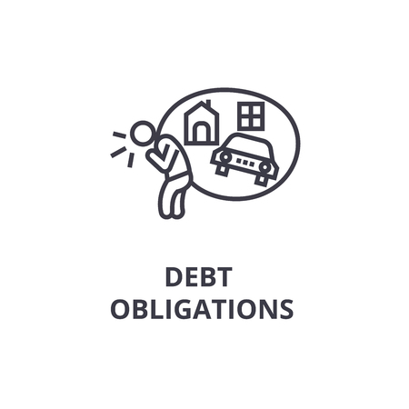 Illustrazione per debt obligations thin line icon, sign, symbol, illustation, linear concept vector - Immagini Royalty Free