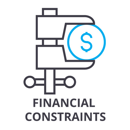 Illustration for financial constraints thin line icon, sign, symbol, illustation, linear concept vector  - Royalty Free Image