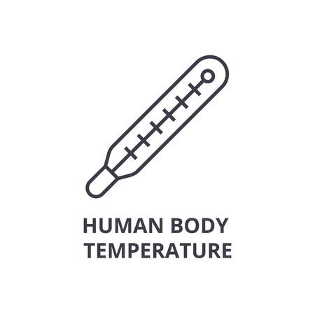 Ilustración de human body temperature thin line icon, sign, symbol, illustation, linear concept vector  - Imagen libre de derechos