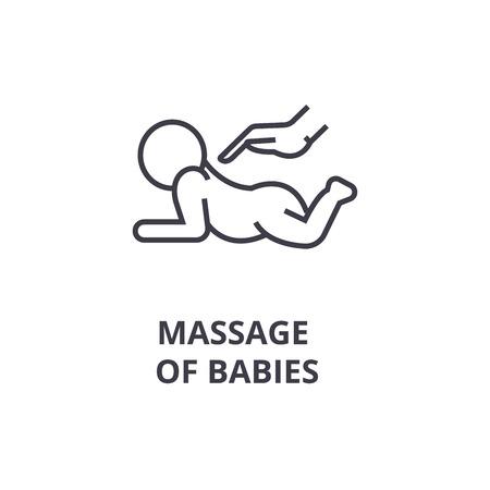 Illustration pour massage of babies thin line icon, sign, symbol, illustation, linear concept vector  - image libre de droit
