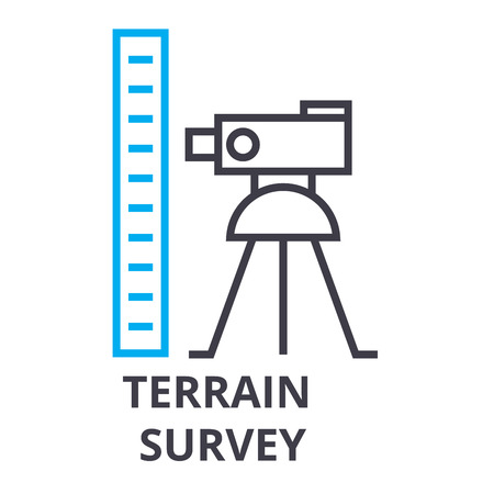 Illustration pour Terrain survey thin line icon - image libre de droit