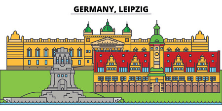 Illustration pour Germany, Leipzig. City skyline, architecture, buildings, streets, silhouette, landscape, panorama, landmarks, icons. Editable strokes. Flat design line vector illustration concept - image libre de droit