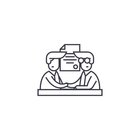 Illustration pour involvement vector line icon, sign, illustration on white background, editable strokes - image libre de droit