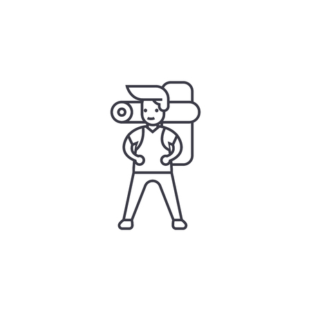 Illustration pour man going camping vector line icon, sign, illustration on white background, editable strokes - image libre de droit