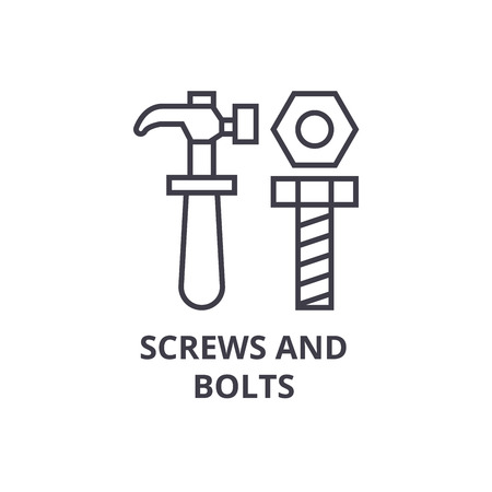 Illustration pour screws and bolts vector line icon, sign, illustration on white background, editable strokes - image libre de droit