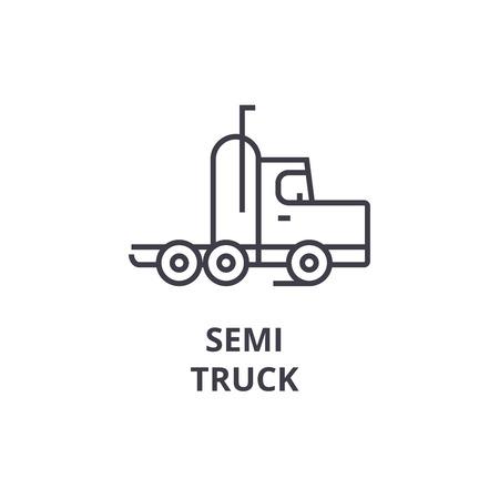 Ilustración de semi truck vector line icon, sign, illustration on white background, editable strokes - Imagen libre de derechos