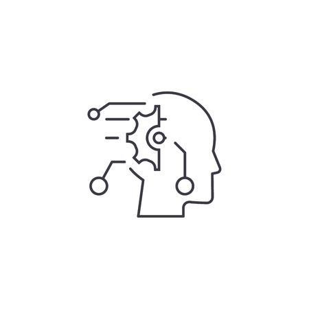Illustration pour technical mind vector line icon, sign, illustration on white background, editable strokes - image libre de droit