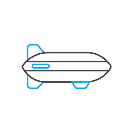 Illustration pour Airship vector thin line stroke icon. Airship outline illustration, linear sign, symbol isolated concept. - image libre de droit