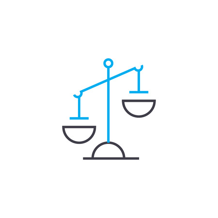 Ilustración de Imbalance vector thin line stroke icon. Imbalance outline illustration, linear sign, symbol isolated concept. - Imagen libre de derechos