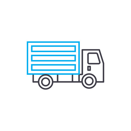 Illustration pour Refrigerated truck vector thin line stroke icon. Refrigerated truck outline illustration, linear sign, symbol isolated concept. - image libre de droit