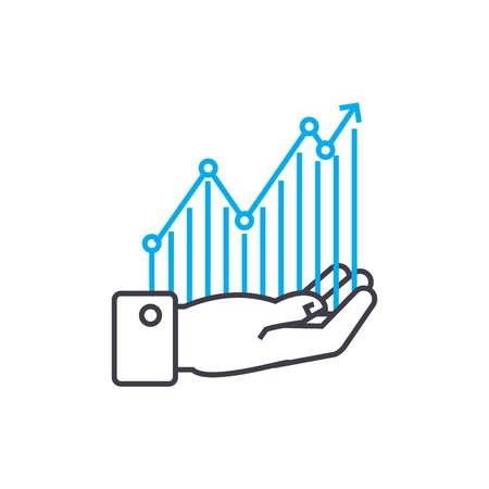Ilustración de Profitability monitoring vector thin line stroke icon. Profitability monitoring outline illustration, linear sign, symbol isolated concept. - Imagen libre de derechos