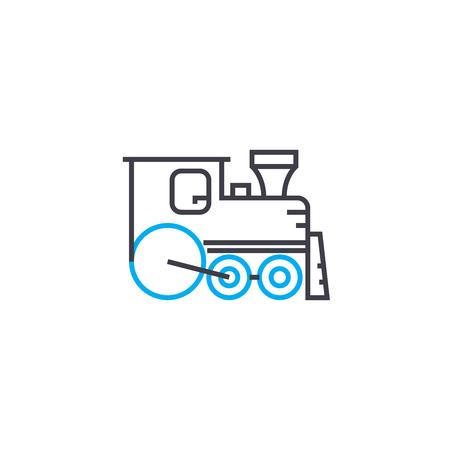 Illustration pour Steamlocomotive vector thin line stroke icon. Steamlocomotive outline illustration, linear sign, symbol concept. - image libre de droit