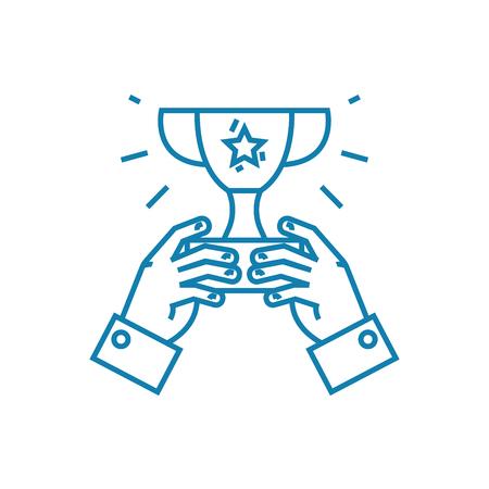 Illustration pour Common achievement line icon, vector illustration. Common achievement linear concept sign. - image libre de droit