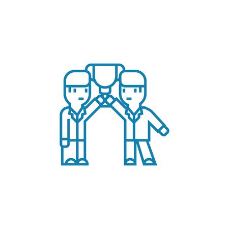 Illustration pour Common achievements line icon, vector illustration. Common achievements linear concept sign. - image libre de droit